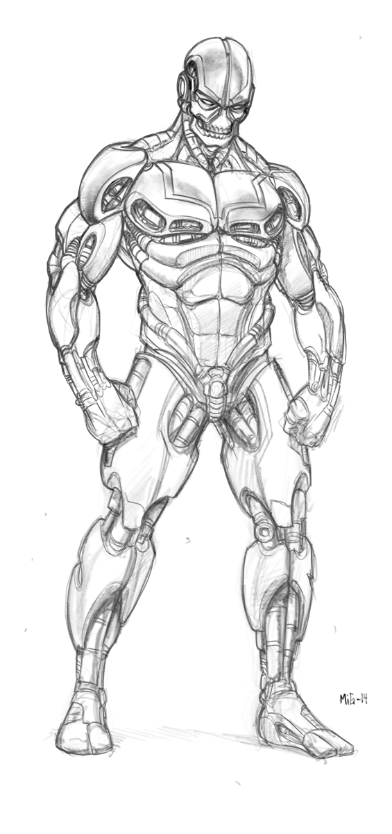 Robot, personal artwork, warming up sketch