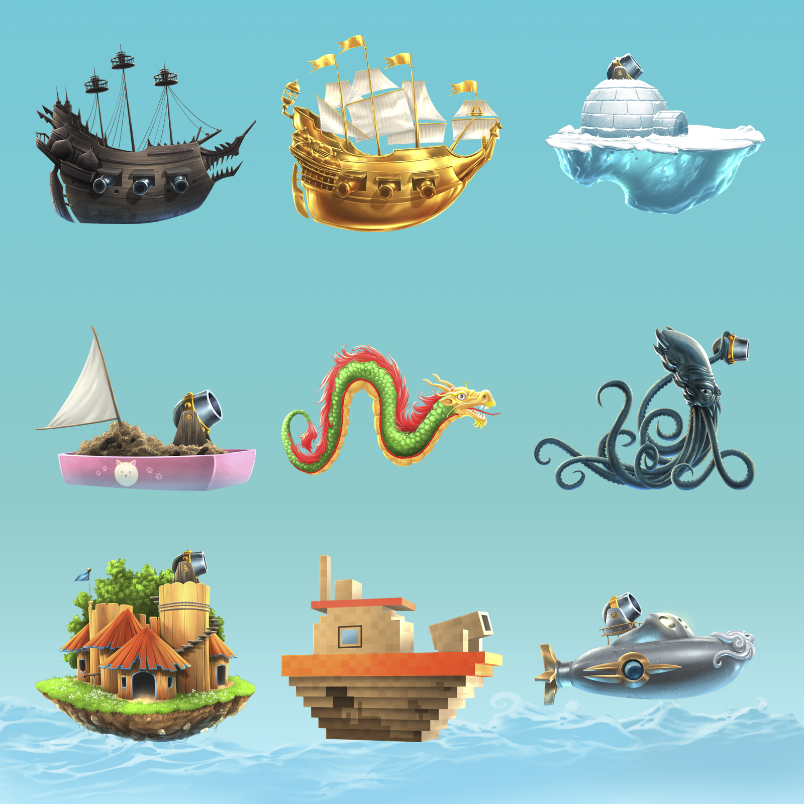 Word Ahoy! Ships List, unlockables via in-game purchase