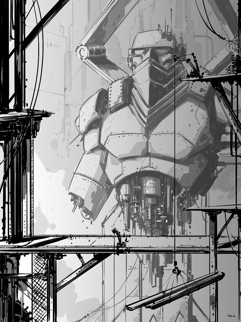 Robot Under Construction, personal work, quick sketch