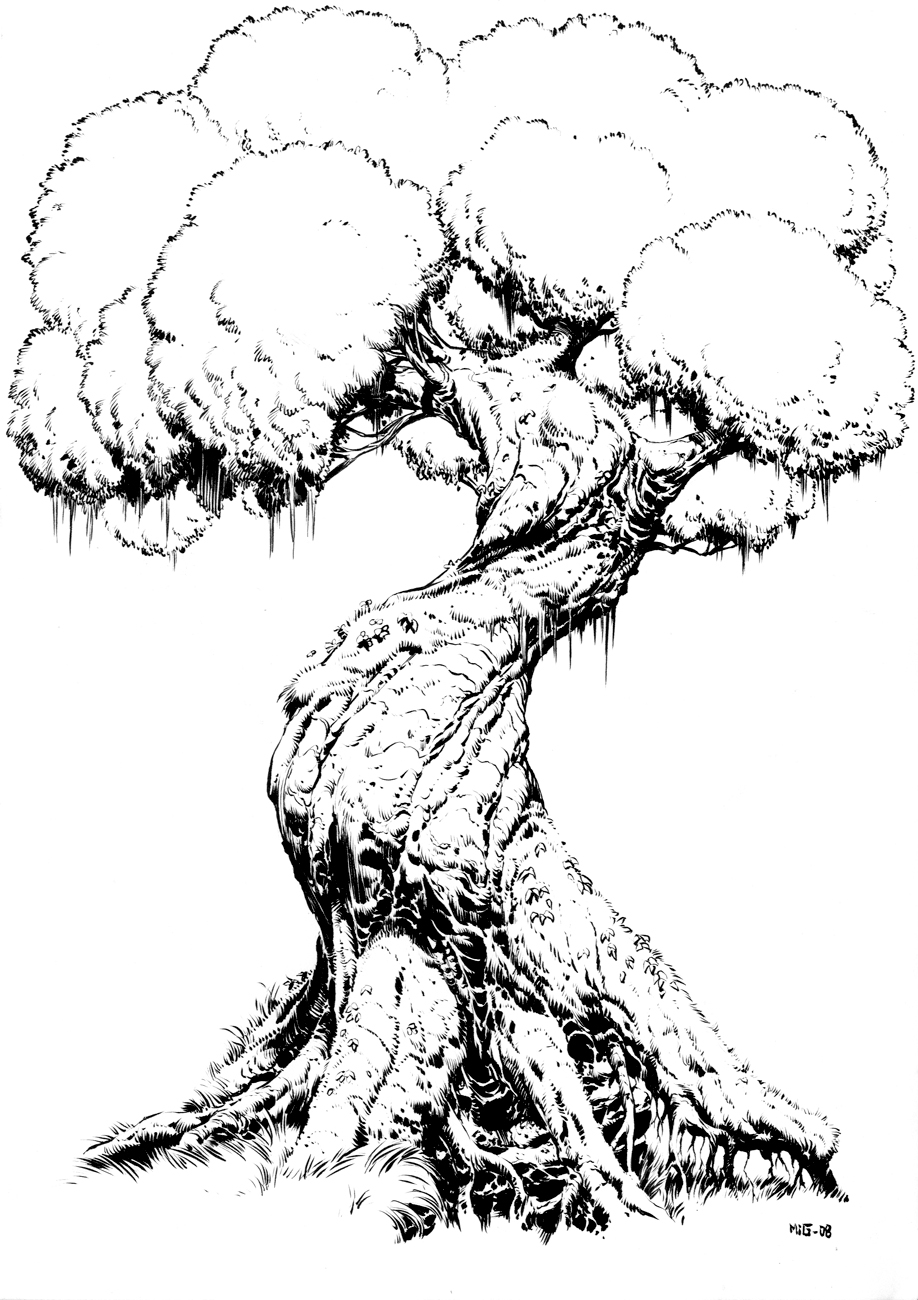 Gnarled Tree, personal artwork, ink practice
