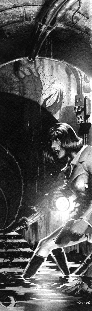 Sewer, illustration for the Swedish RPG Noir